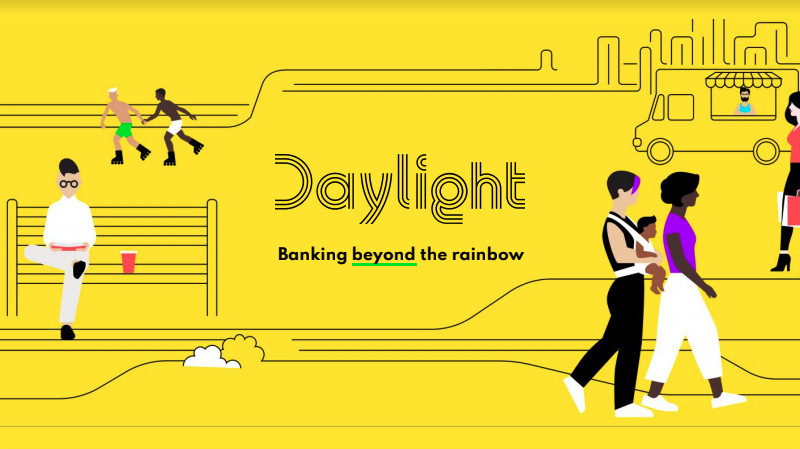 Yellow background image with animated queer folx doing things in a city. The image reads Daylight: banking beyond the rainbow.